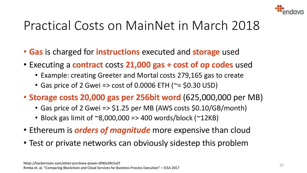 Practical Costs on MainNet in March 2018 • Gas ...