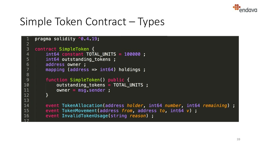 Simple Token Contract – Types 39