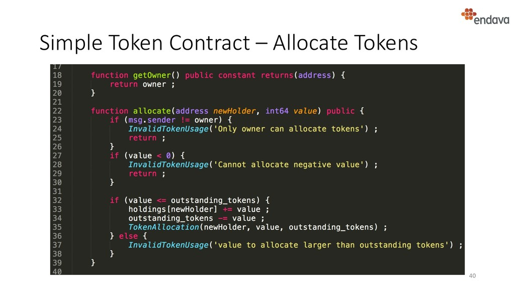 Simple Token Contract – Allocate Tokens 40