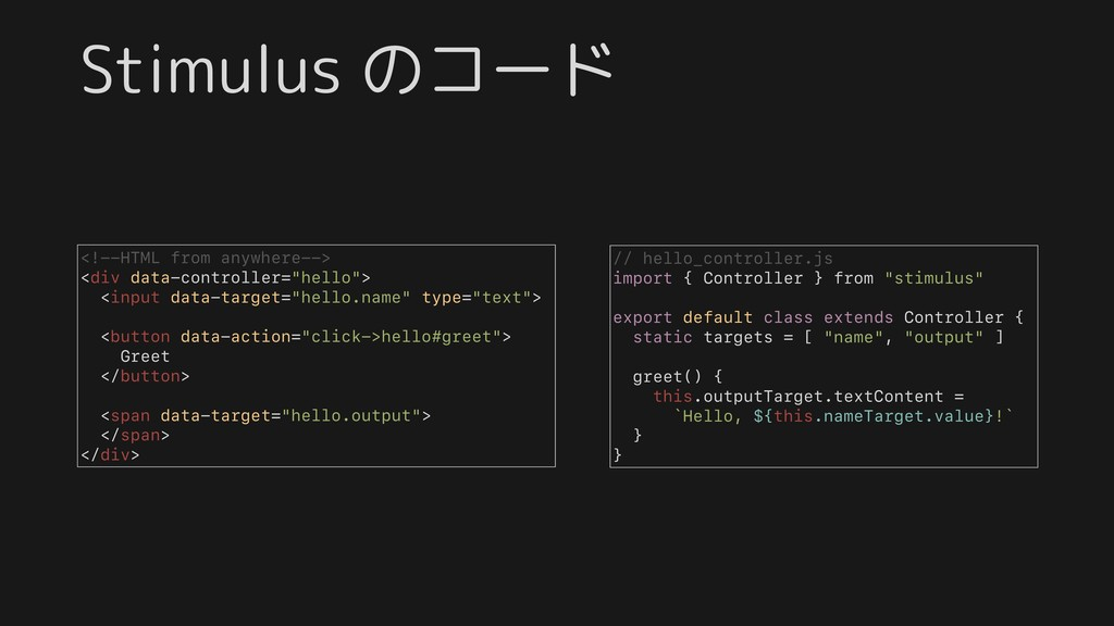 Stimulus のコード <!--HTML from anywhere--> <div da...