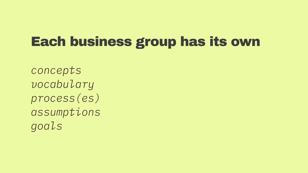 Each business group has its own concepts vocabu...