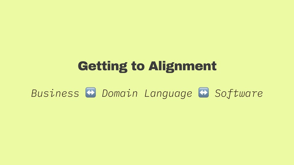 Getting to Alignment Business ↔ Domain Language...
