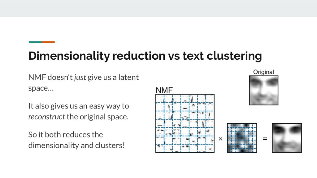 Dimensionality reduction vs text clustering NMF...