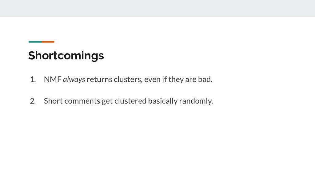 Shortcomings 1. NMF always returns clusters, ev...
