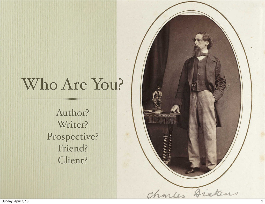 Who Are You? Author? Writer? Prospective? Frien...