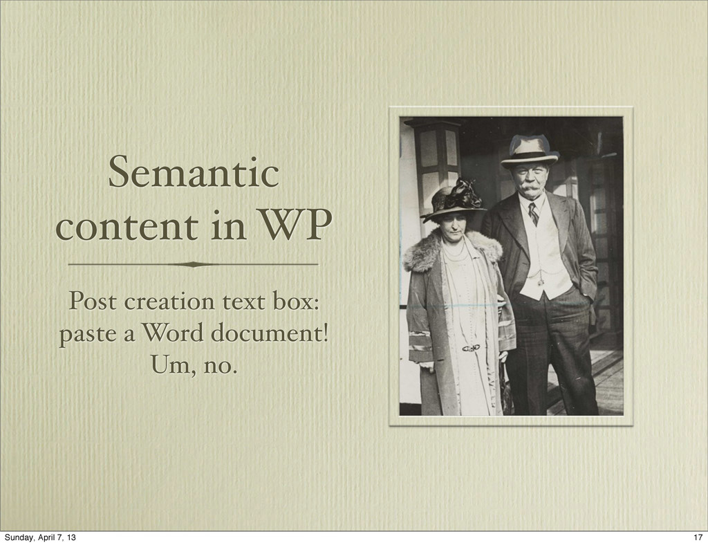 Semantic content in WP Post creation text box: ...