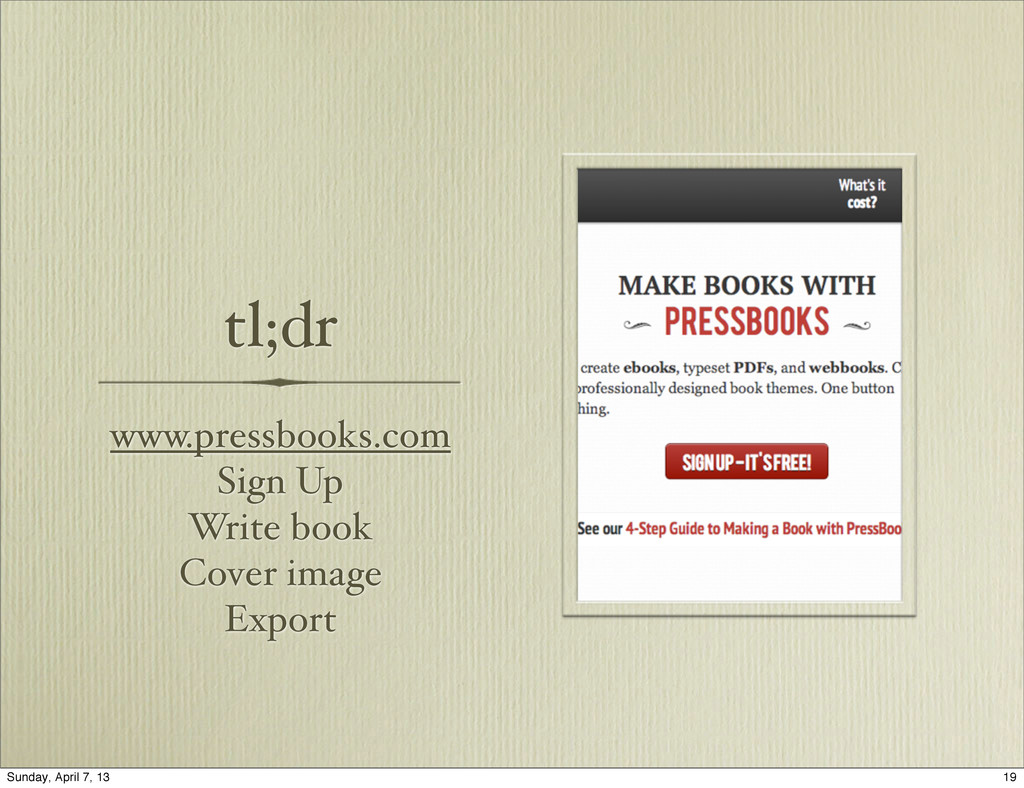 tl;dr www.pressbooks.com Sign Up Write book Cov...