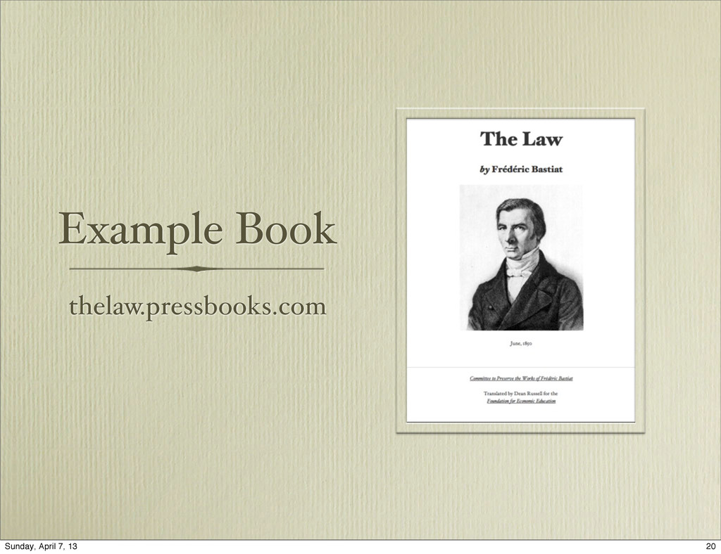 Example Book thelaw.pressbooks.com 20 Sunday, A...