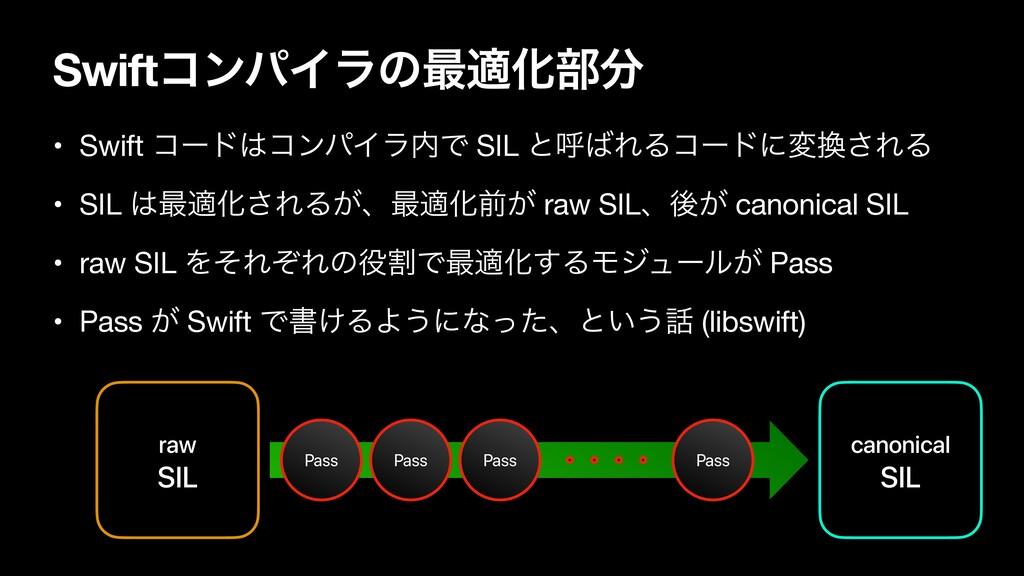 SwiftίϯύΠϥͷ࠷దԽ෦ raw SIL canonical SIL Pass Pas...
