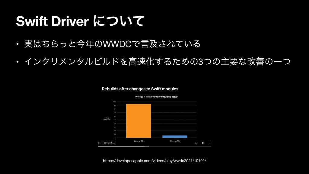 Swift Driver ʹ͍ͭͯ • ࣮ͪΒͬͱࠓͷWWDCͰݴٴ͞Ε͍ͯΔ  • Πϯ...