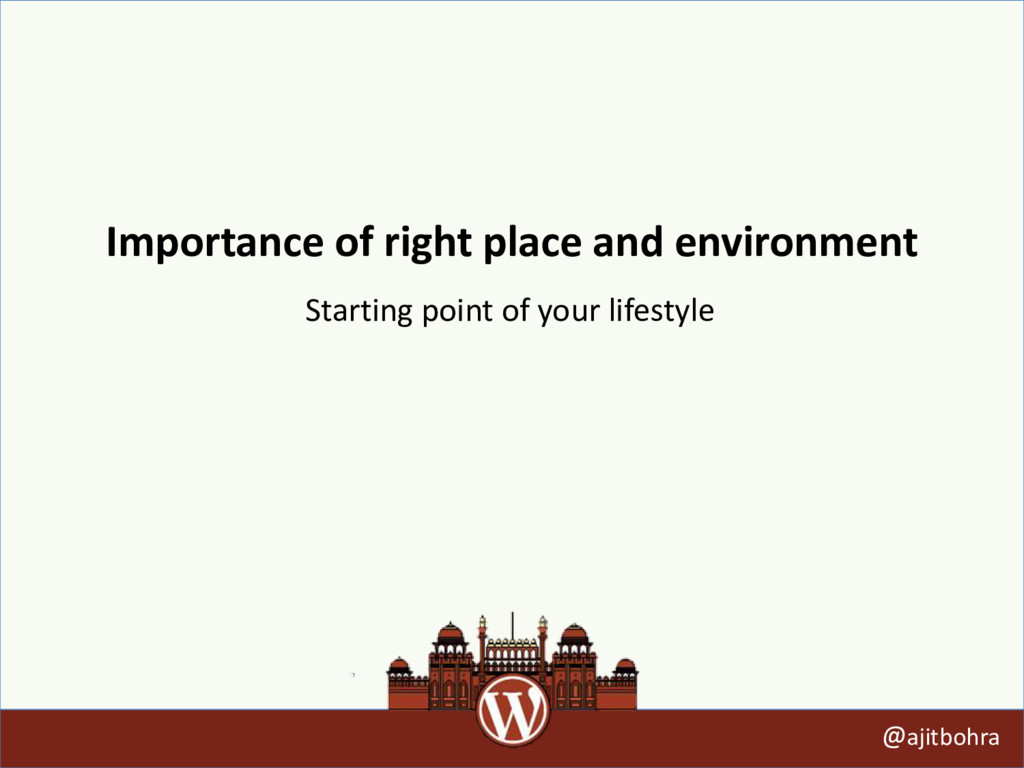 Importance of right place and environment @ajit...