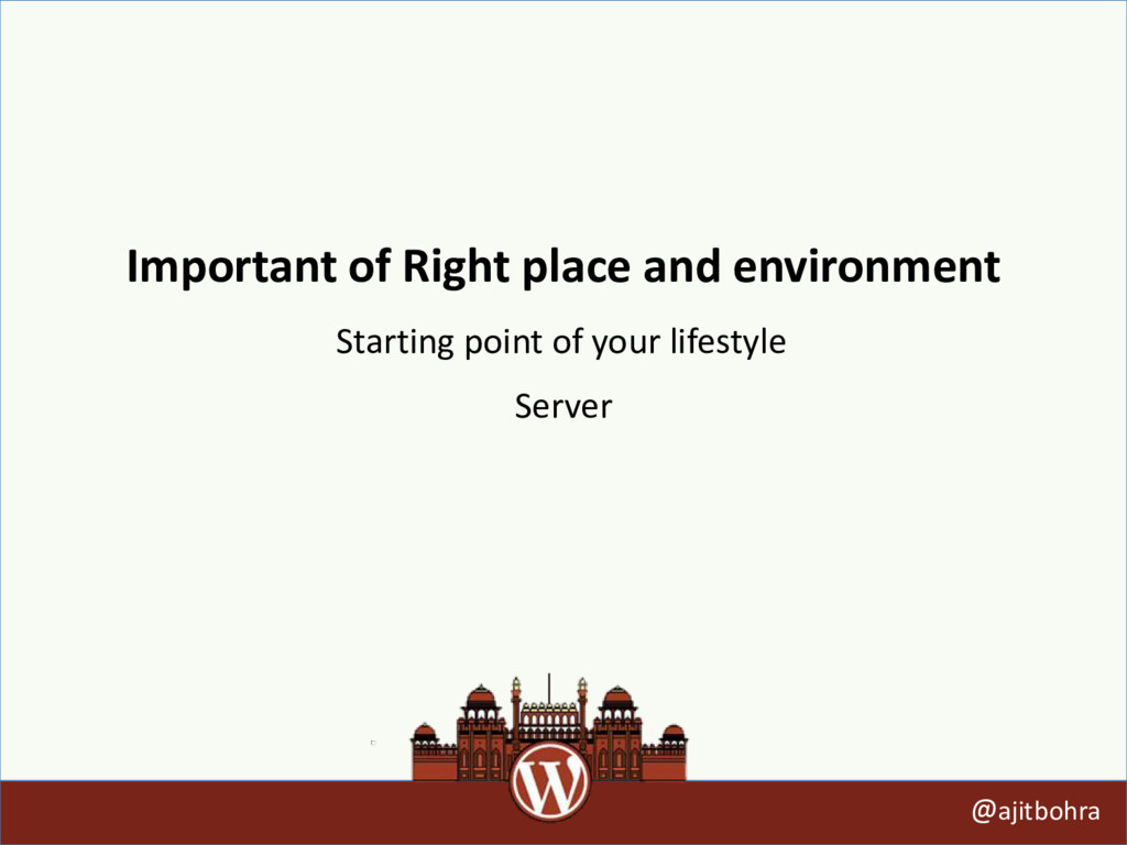 Important of Right place and environment @ajitb...