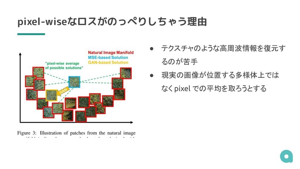 pixel-wiseなロスがのっぺりしちゃう理由 ● テクスチャのような高周波情報を復元す る...