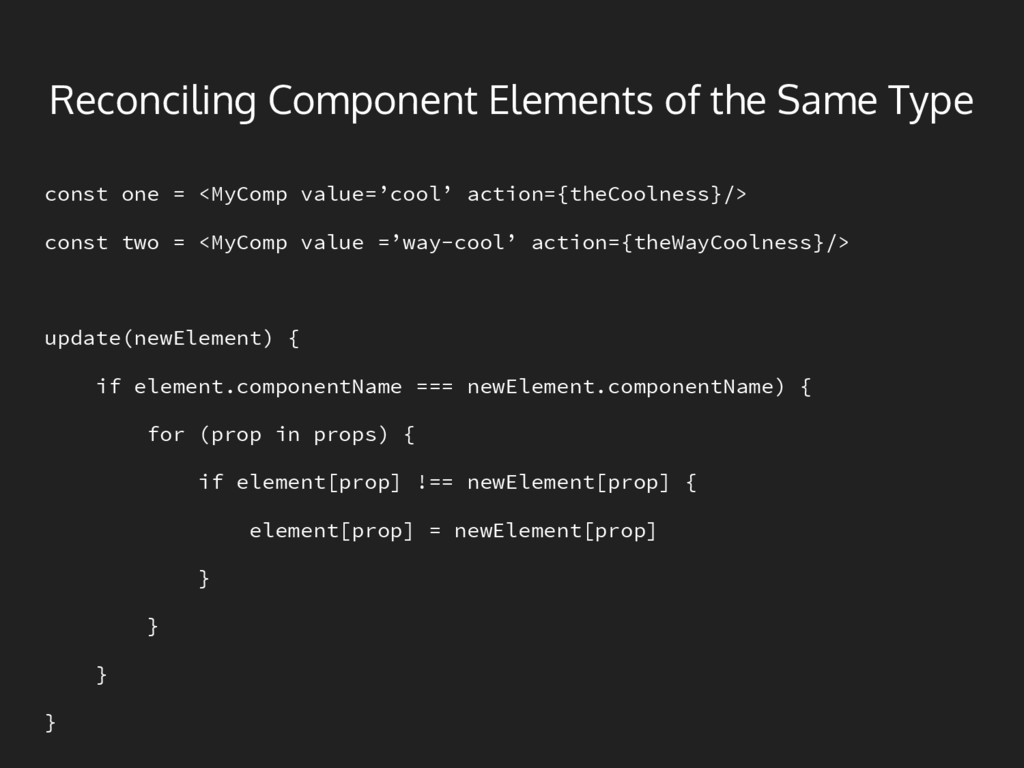 Reconciling Component Elements of the Same Type...