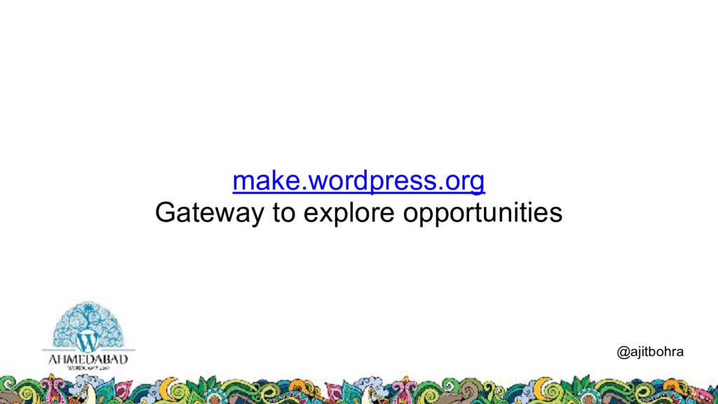 make.wordpress.org Gateway to explore opportuni...