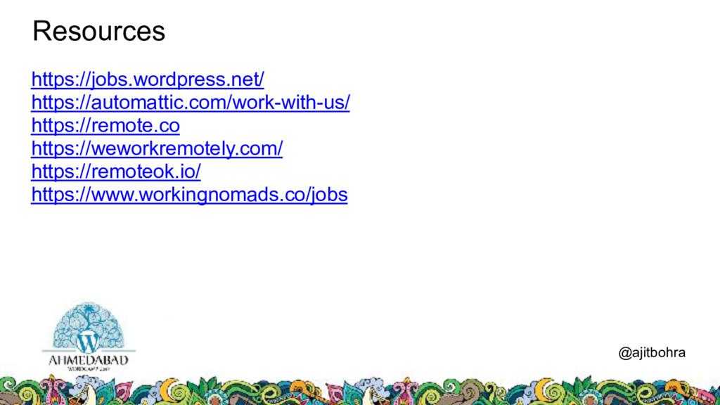 Resources @ajitbohra https://jobs.wordpress.net...