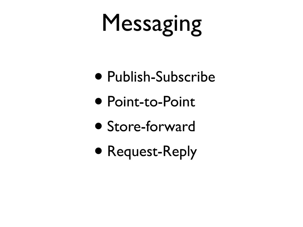 Messaging • Publish-Subscribe • Point-to-Point ...