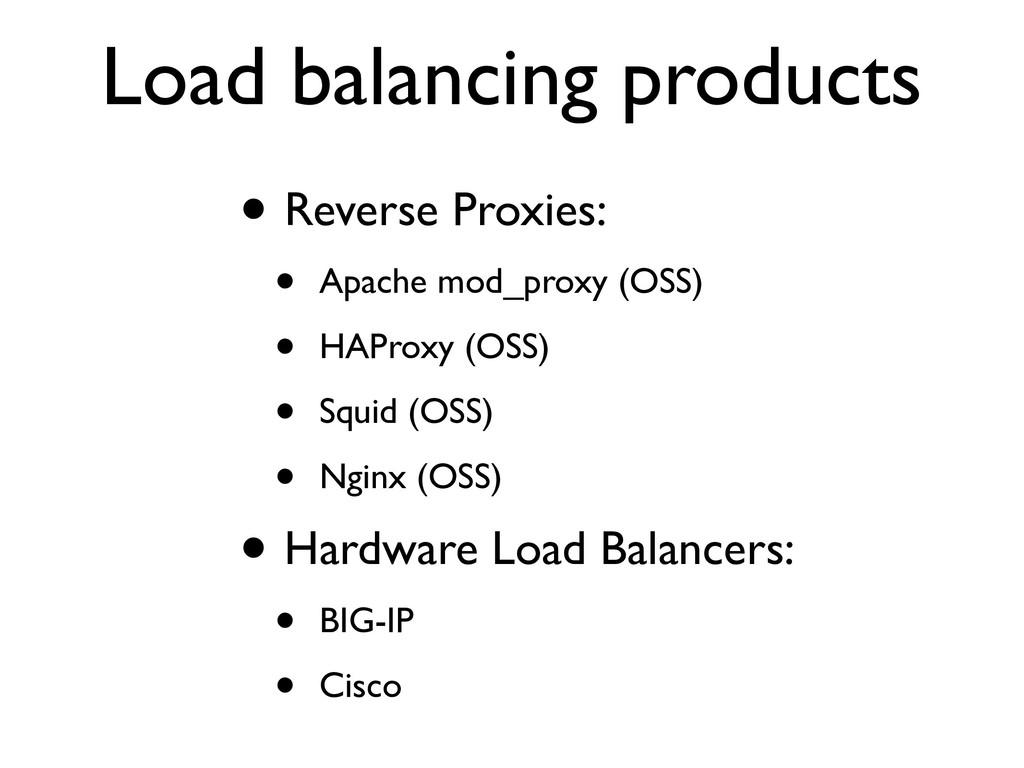 Load balancing products • Reverse Proxies: • Ap...