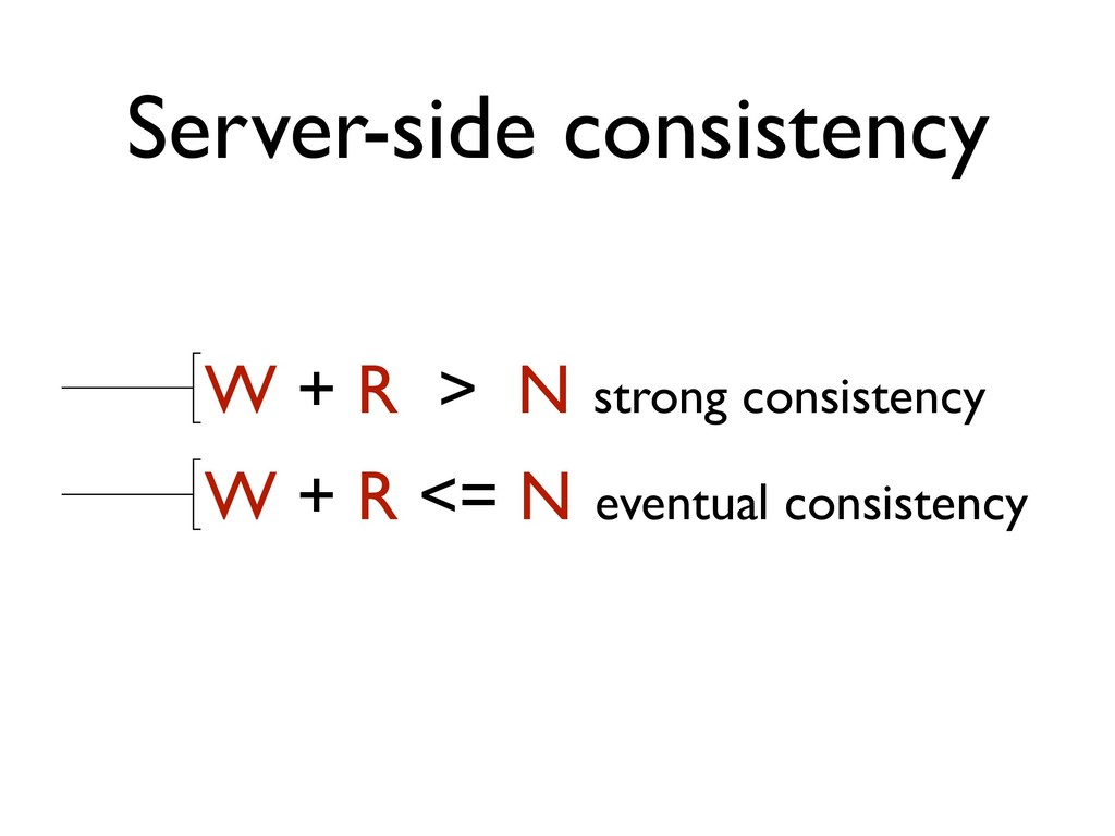 Server-side consistency W + R > N strong consis...