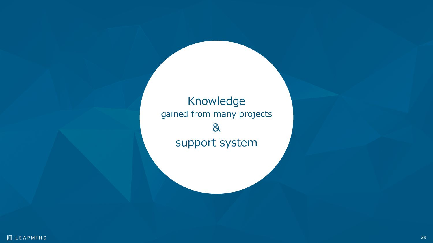 39 Knowledge gained from many projects & suppor...