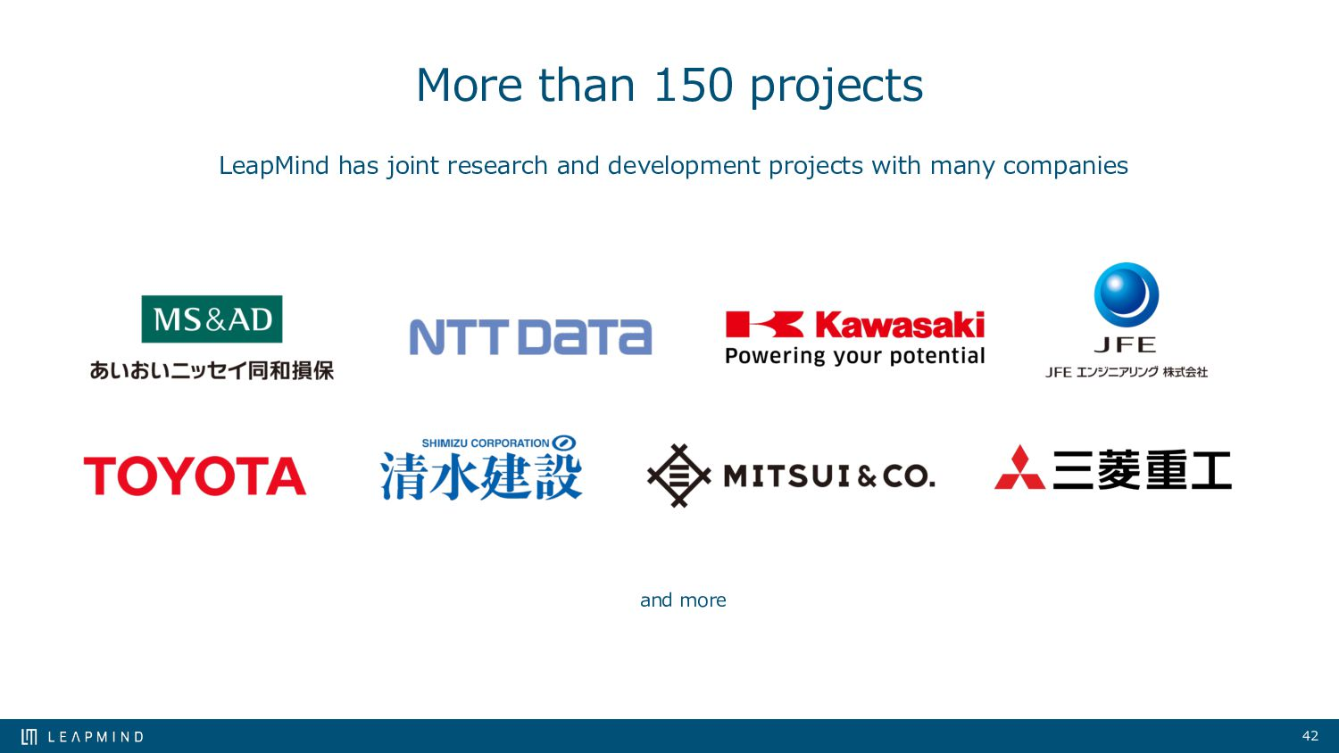 42 More than 150 projects and more LeapMind has...