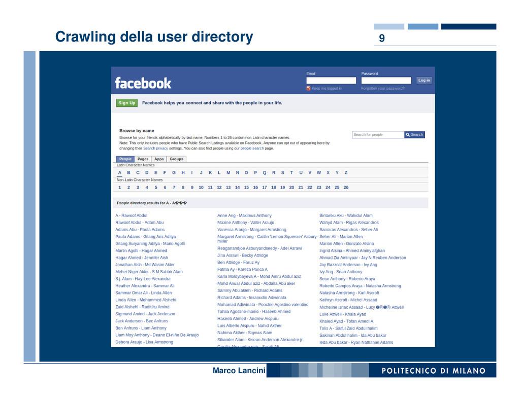 9 Crawling della user directory Nome relatore M...
