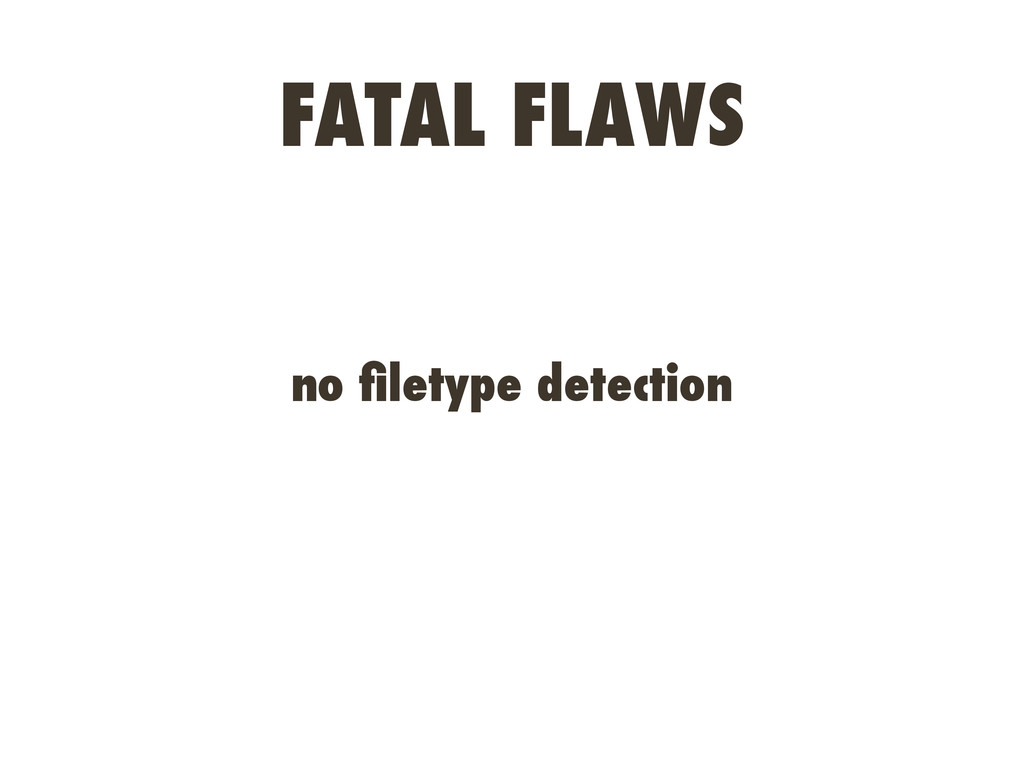 FATAL FLAWS no filetype detection