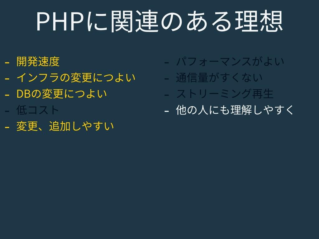 PHPに関連のある理想 - 開発速度 - インフラの変更につよい - DBの変更につよい - ...
