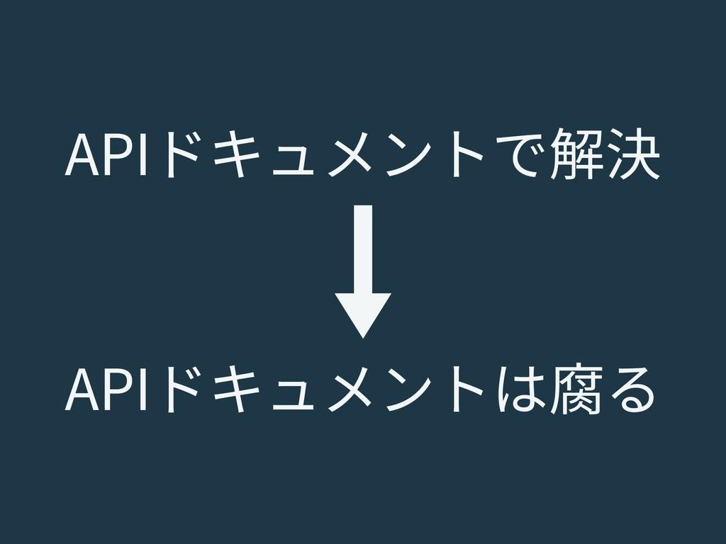 APIドキュメントで解決 APIドキュメントは腐る