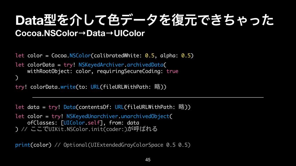 DataܕΛհͯ͠৭σʔλΛ෮ݩͰ͖ͪΌͬͨ Cocoa.NSColor→Data→UICol...