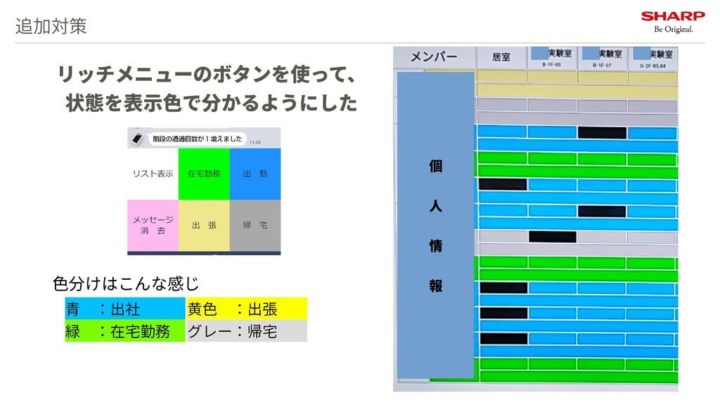 追加対策 青 :出社    緑 :在宅勤務  リッチメニューのボタンを使って、 状態を表示色で...