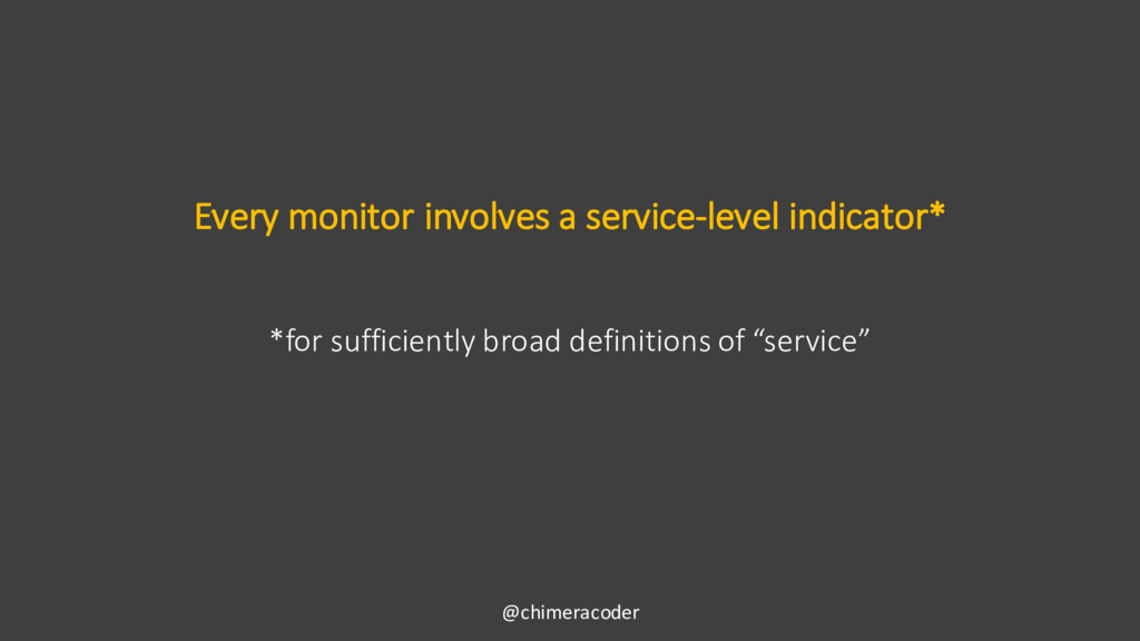 Every monitor involves a service-level indicato...