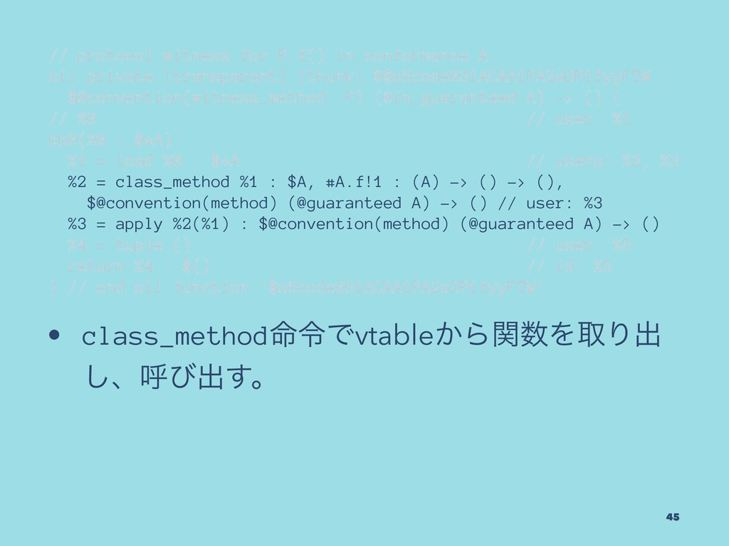 // protocol witness for P.f() in conformance A ...