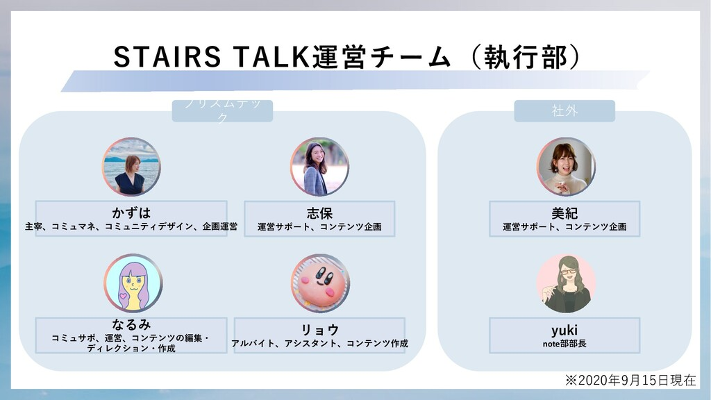 STAIRS TALK運営チーム(執⾏部) なるみ コミュサポ、運営、コンテンツの編集・ ディ...