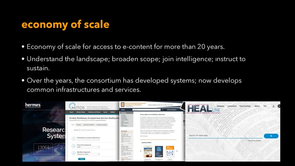 economy of scale • Economy of scale for access ...