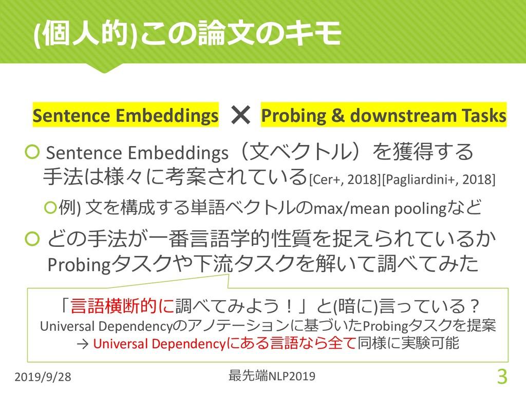 (個⼈的)この論⽂のキモ 2019/9/28 3 Sentence Embeddings Pr...