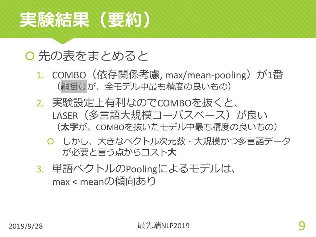 š 先の表をまとめると 1. COMBO(依存関係考慮, max/mean-pooling)が...