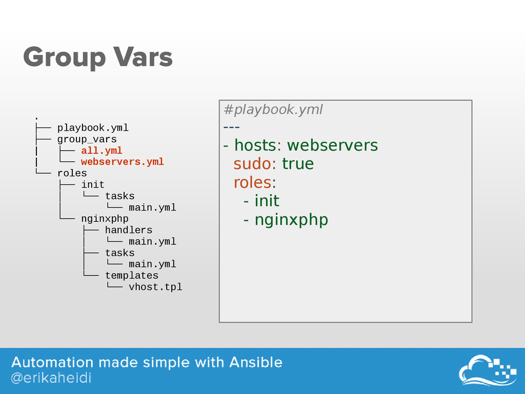 Group Vars . ├── playbook.yml ├── group_vars | ...