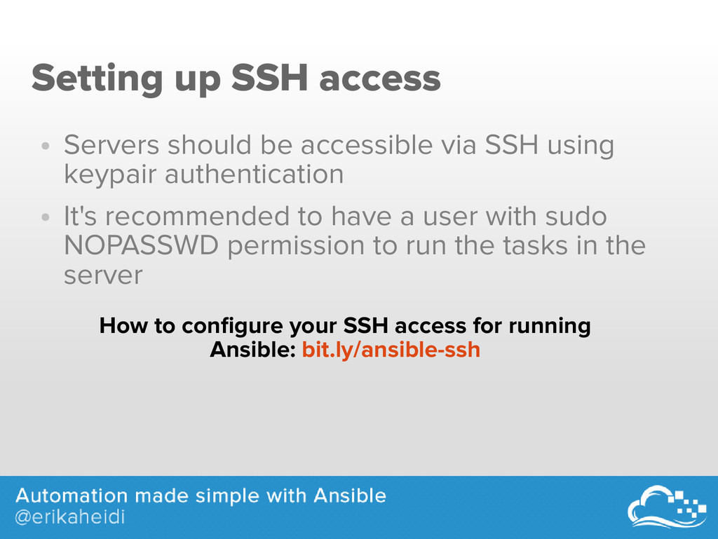 Setting up SSH access ● Servers should be acces...