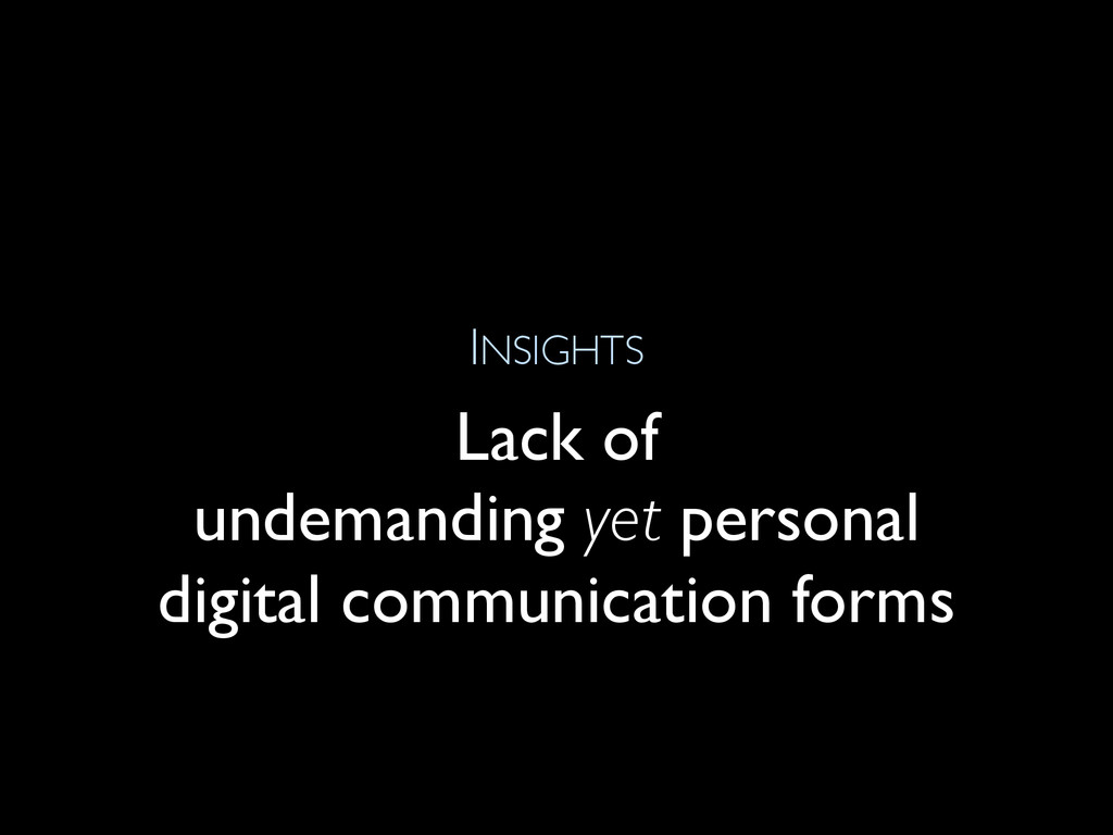 INSIGHTS Lack of undemanding yet personal digit...