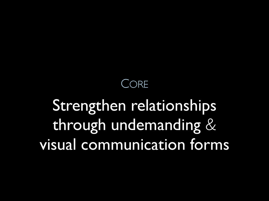 CORE Strengthen relationships through undemandi...