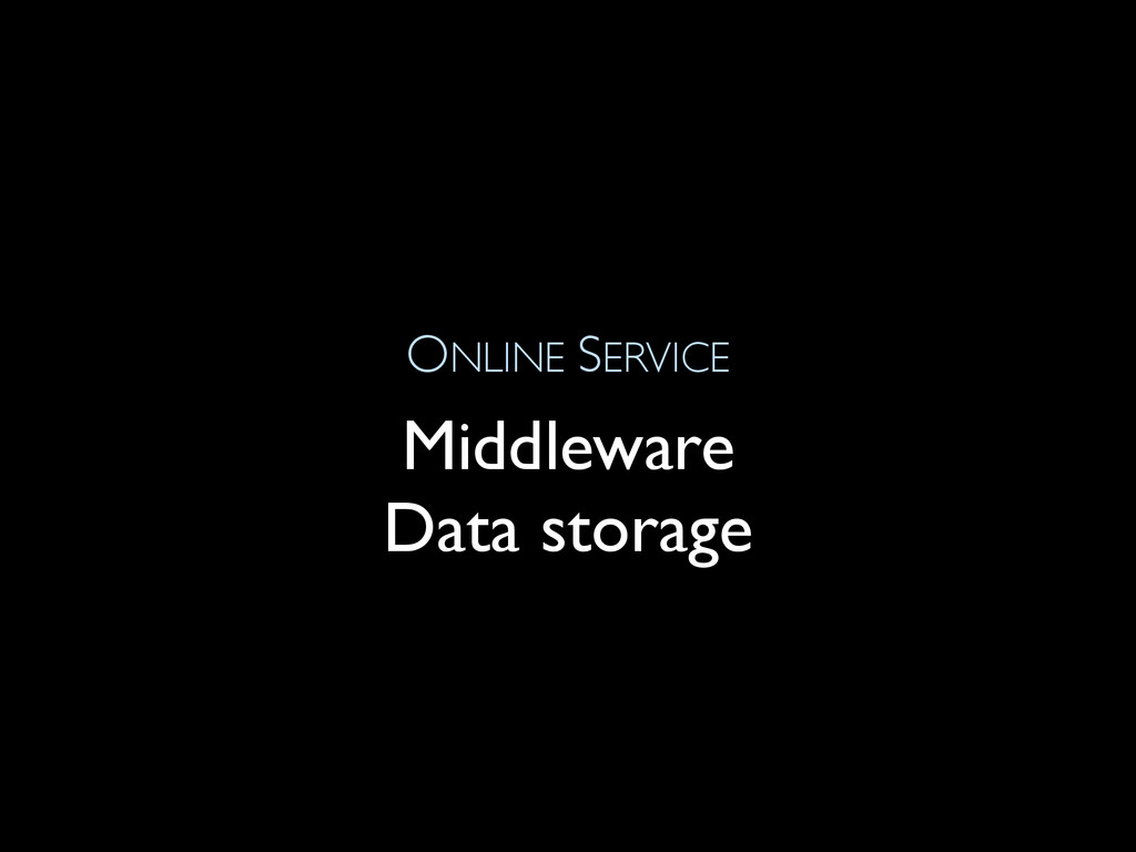 ONLINE SERVICE Middleware Data storage