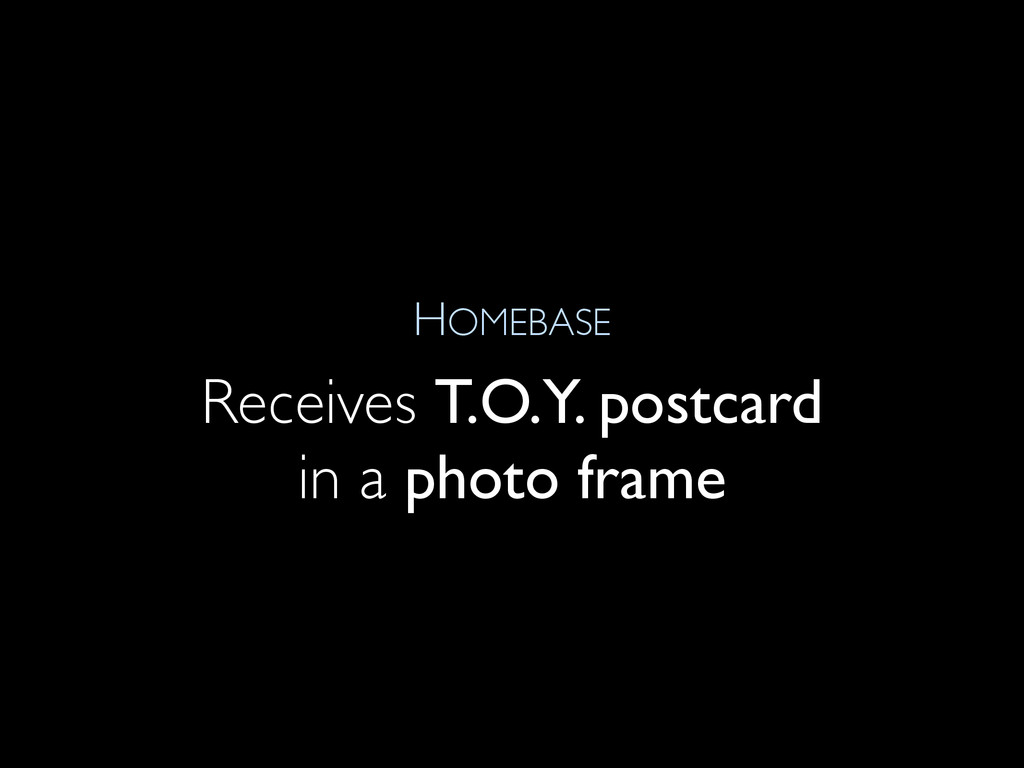 HOMEBASE Receives T.O.Y. postcard in a photo fr...