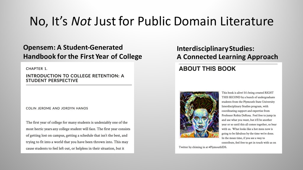 No, It's Not Just for Public Domain Literature ...