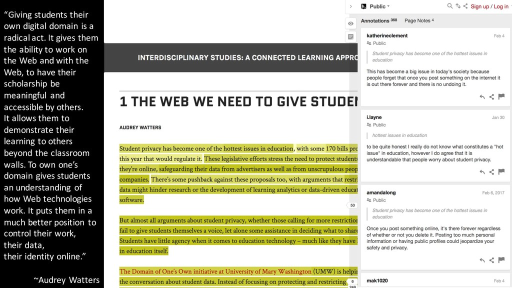 """""""Giving students their own digital domain is a ..."""