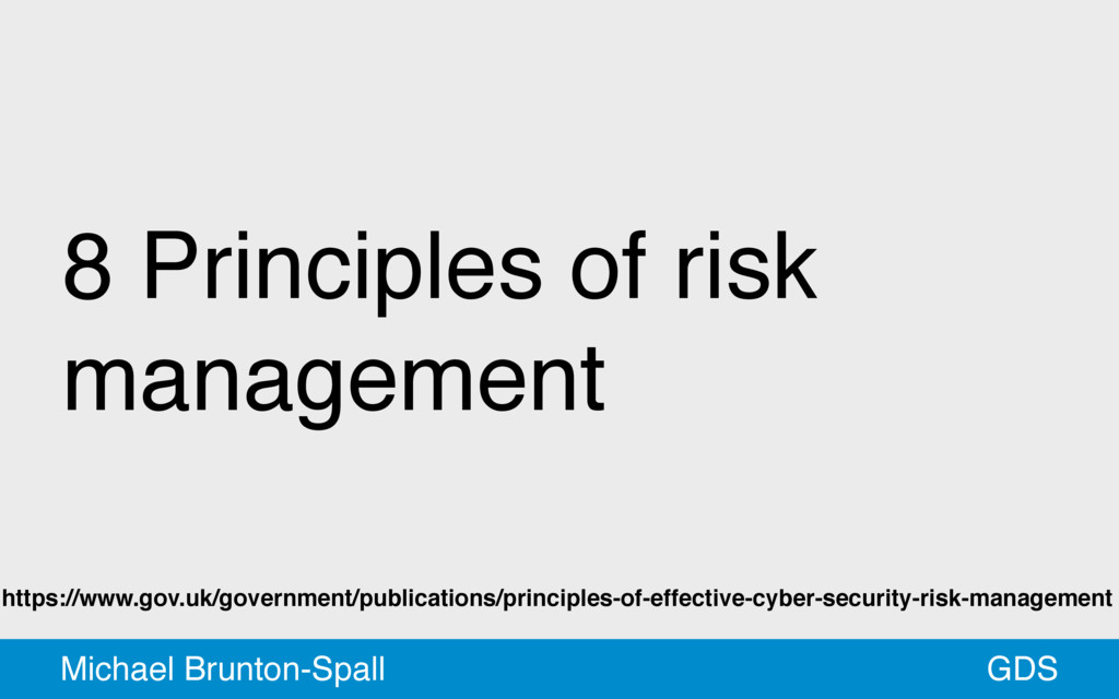 8 Principles of risk management GDS Michael Bru...