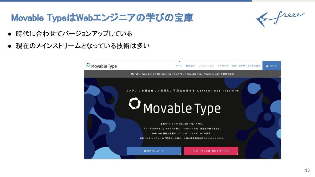 Movable TypeはWebエンジニアの学びの宝庫 15 ● 時代に合わせてバージョンア...