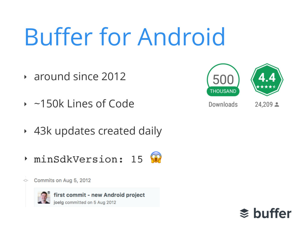 Buffer for Android ‣ around since 2012 ‣ ~150k L...