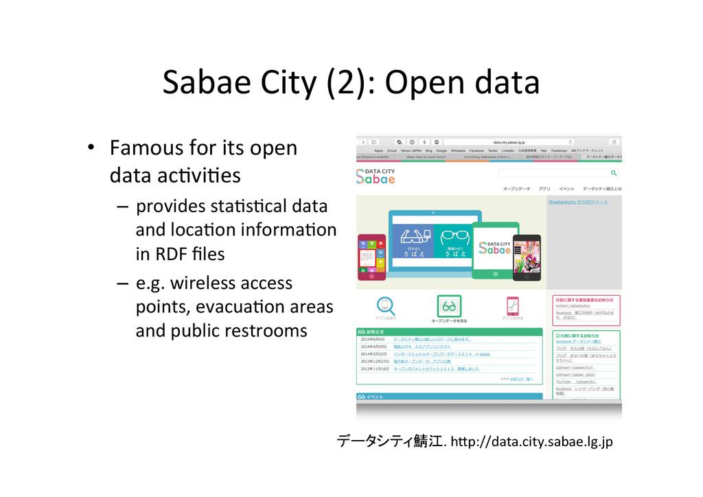 Sabae City (2): Open data • Famo...