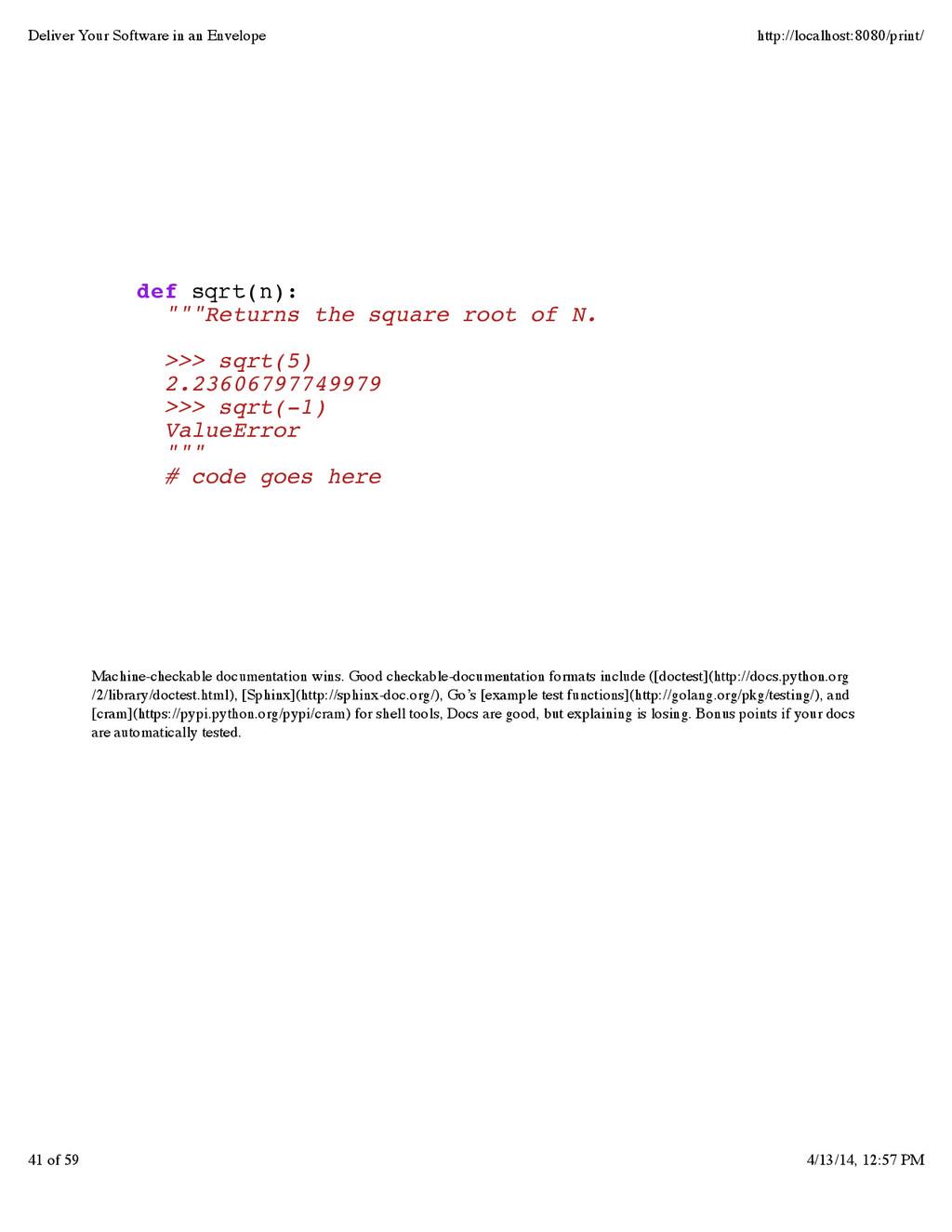 Machine-checkable documentation wins. Good chec...